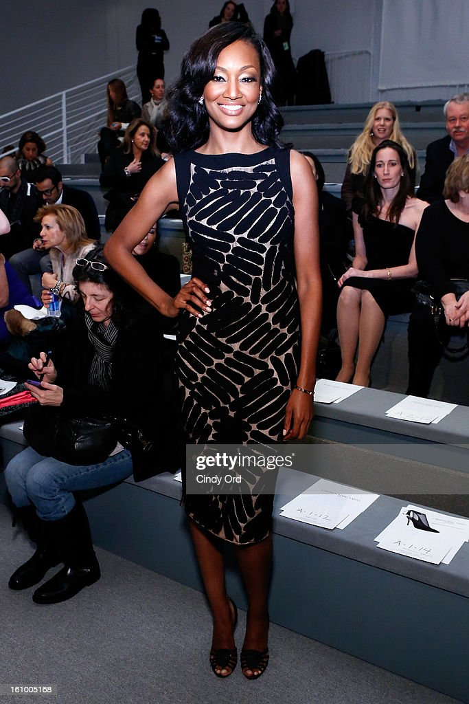 Actress Nichole Galicia attends the Carmen Marc Valvo Fall 2013 fashion show during Mercedes-Benz Fashion Week at The Stage at Lincoln Center on February 8, 2013 in New York City.