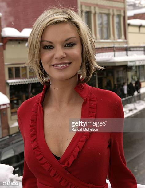 Actress Nichole Hiltz of Trailer Park of Terror poses at the Sky 360 Delta Lounge during 2008 Sundance Film Festival on January 21 2008 in Park City...
