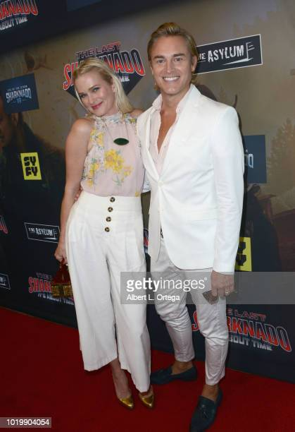 Actress Nicholle Tom and guest arrive for the Premiere Of The Asylum And Syfy's 'The Last Sharknado It's About Time' held at Cinemark Playa Vista on...