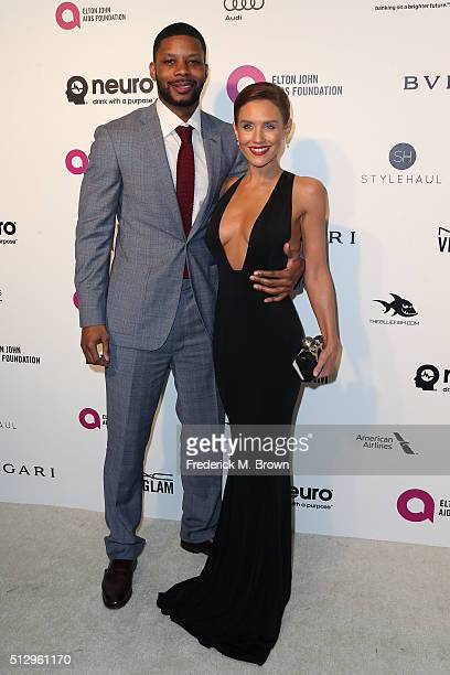 Actress Nicky Whelan and football player Kerry Rhodes attends the 24th Annual Elton John AIDS Foundation's Oscar Viewing Party on February 28 2016 in...