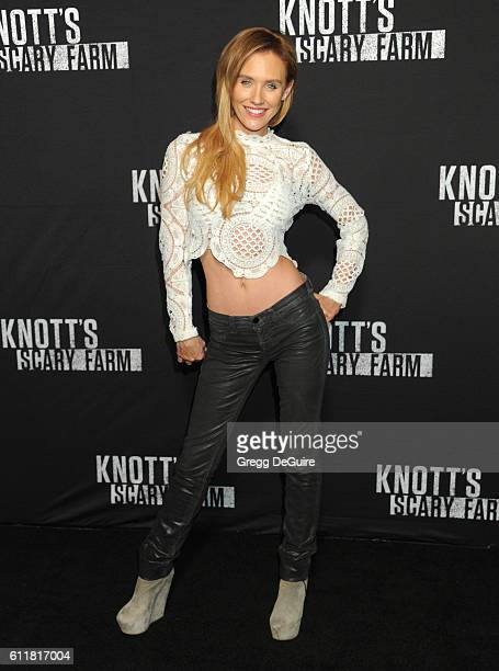Actress Nicky Whelan arrives at the Knott's Scary Farm Black Carpet Event at Knott's Berry Farm on September 30 2016 in Buena Park California