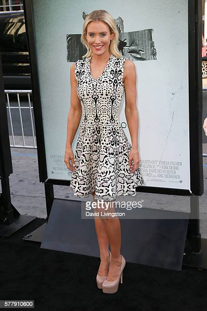 Actress Nicky Whelan arrives at the premiere of New Line Cinema's Lights Out at the TCL Chinese Theatre on July 19 2016 in Hollywood California