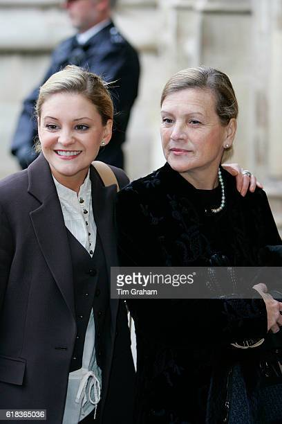 Actress Nicola Stapleton arrives at Westminster Abbey with a guest for the Woman's Own 'Children of Courage Awards' in London
