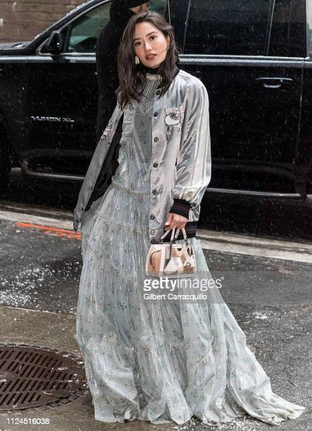 Actress Nicole Anderson is seen arriving to Coach 1941 fashion show at the NYSE during New York Fashion Week on February 12 2019 in New York City