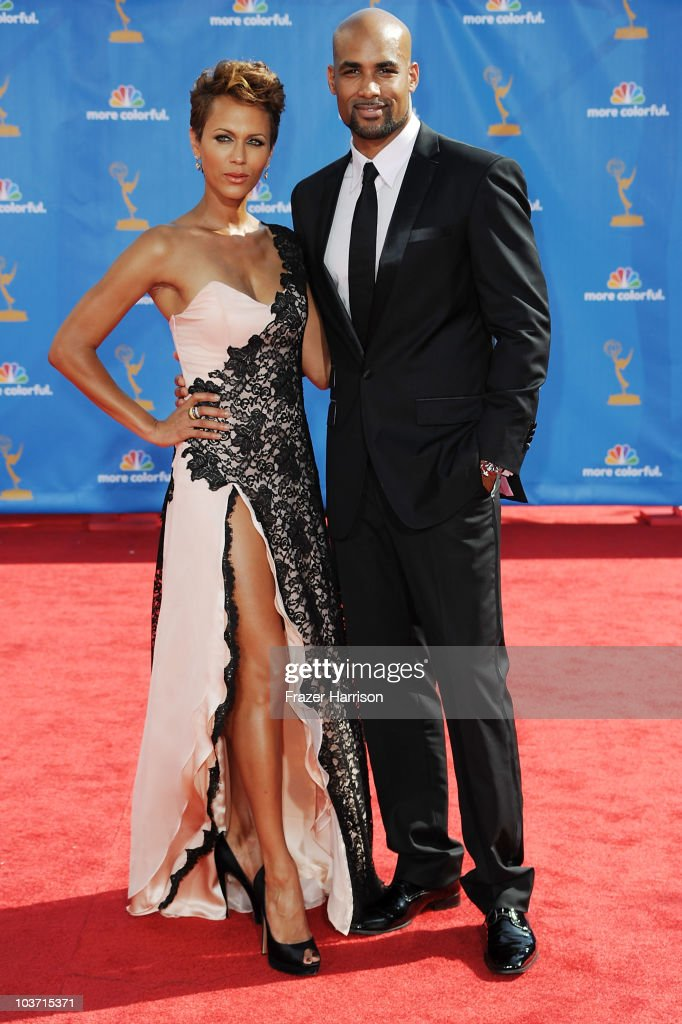 Actress Nicole Ari Parker and actor Boris Kodjoe (R) arrive at the 62nd Annual Primetime Emmy Awards held at the Nokia Theatre L.A. Live on August 29, 2010 in Los Angeles, California.