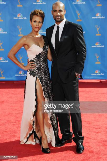 Actress Nicole Ari Parker and actor Boris Kodjoe arrive at the 62nd Annual Primetime Emmy Awards held at the Nokia Theatre LA Live on August 29 2010...