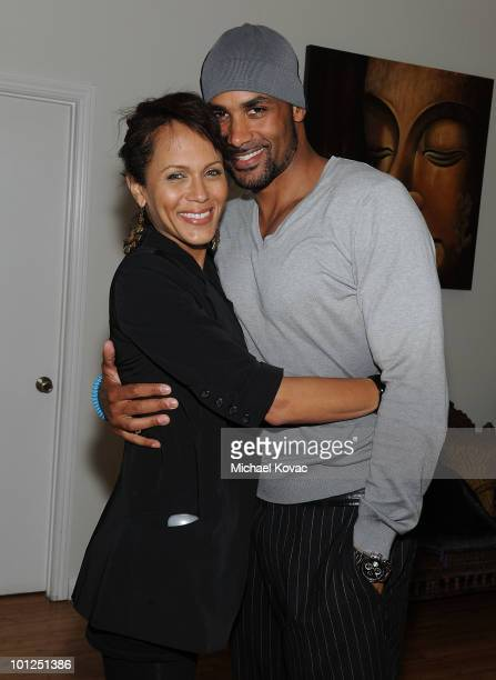 Actress Nicole Ari Parker and husband actor Boris Kodjoe attend the 35 And Ticking Film Wrap Party on May 28 2010 in Woodland Hills California