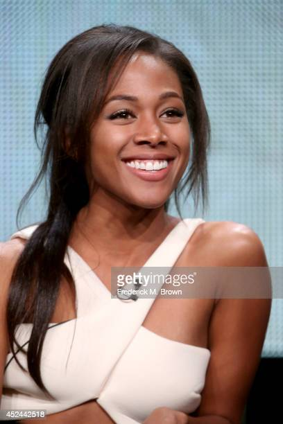 Actress Nicole Beharie speaks onstage at the Sleepy Hollow panel during the FOX Network portion of the 2014 Summer Television Critics Association at...