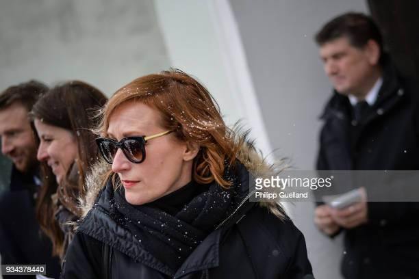 Actress Nicole Beutler arrives for the memorial service for Siegfried Rauch at St Ulrich Church on March 19 2018 in Habach near Murnau Germany German...