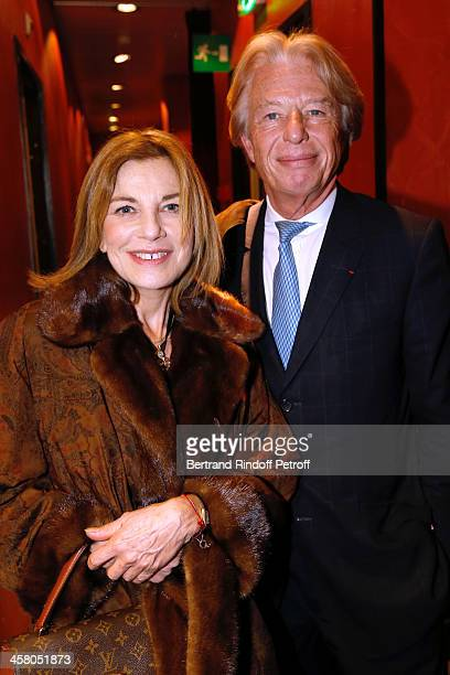 Actress Nicole Calfan and President of Drouot Holding Georges Delettrez pose backstage following the show of impersonator Laurent Gerra Un spectacle...