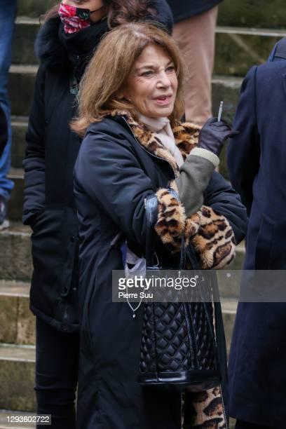 Actress Nicole Calfan attends Claude Brasseur's funeral at Saint Roch Church on December 29, 2020 in Paris, France.