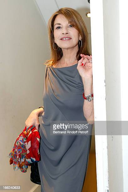 Actress Nicole Calfan attends 'Vivement Dimanche' French TV Show for the 80th anniversary of JeanPaul Belmondo at Pavillon Gabriel on April 10 2013...