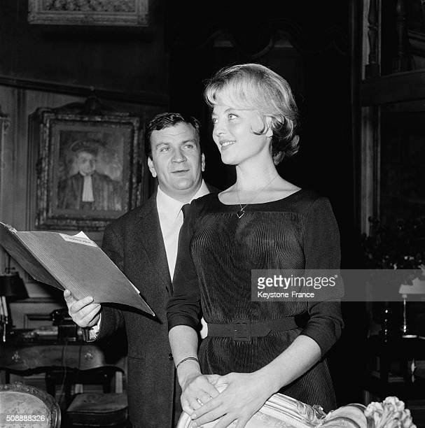 Actress Nicole Courcel Listening The Stage Director Pierre Mondy During the Rehearsal Of the Play 'La Vénus De Milo' At the Théâtre Du Gymnase in...
