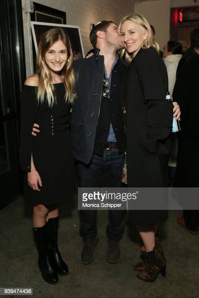 Actress Nicole Elizabeth Berger actor and director Jon Abrahams and actress Mickey Sumner attend the All At Once New York Premiere at Metrograph on...