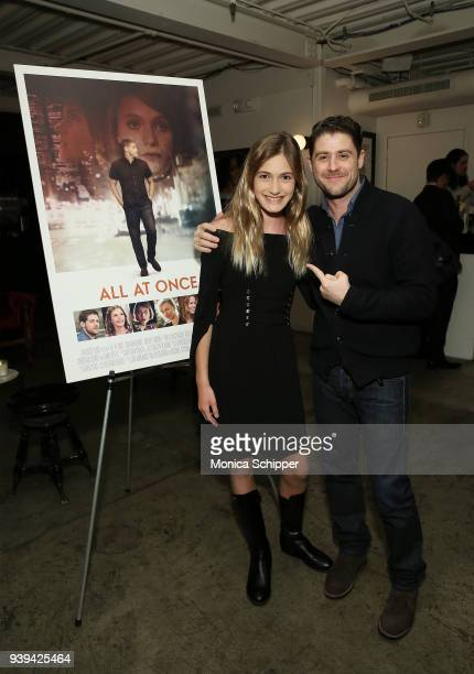 Actress Nicole Elizabeth Berger and actor and director Jon Abrahams attend the All At Once New York Premiere at Metrograph on March 28 2018 in New...