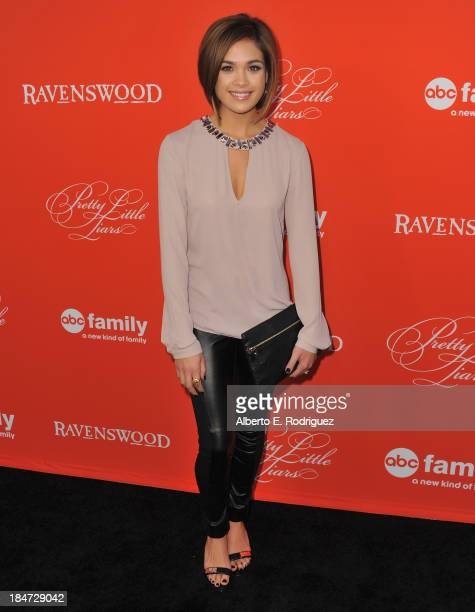Actress Nicole Gale Anderson attends a screening of ABC Family's Pretty Little Liars Halloween episode at Hollywood Forever Cemetery on October 15...