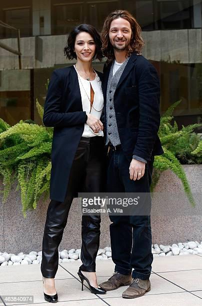 Actress Nicole Grimaudo and director Silvio Muccino attend 'Le Leggi Del Desiderio' photocall at Visconti Hotel on February 19 2015 in Rome Italy