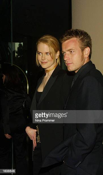 Actress Nicole Kidman and actor Ewan McGregor attend the 5th annual Hollywood Film Festival Awards Gala August 6 2001 at the Beverly Hilton Hotel in...
