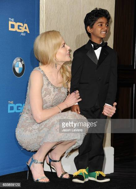 Actress Nicole Kidman and actor Sunny Pawar pose in the press room at the 69th annual Directors Guild of America Awards at The Beverly Hilton Hotel...
