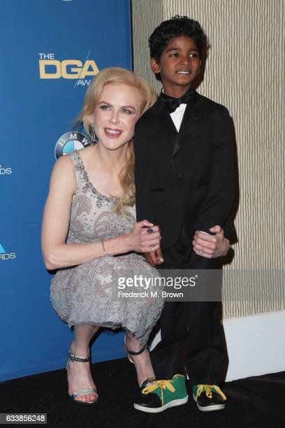 Actress Nicole Kidman and actor Sunny Pawar pose in the press room during the 69th Annual Directors Guild of America Awards at The Beverly Hilton...