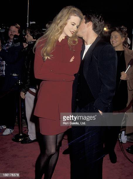Actress Nicole Kidman and actor Tom Cruise attend 'A Few Good Men' Westwood Premiere on December 9 1992 at Mann Village Theatre in Westwood California