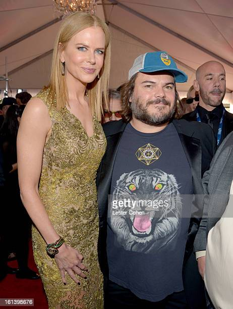Actress Nicole Kidman and actor/musician Jack Black of Tenacious D attend the 55th Annual GRAMMY Awards at STAPLES Center on February 10, 2013 in Los...