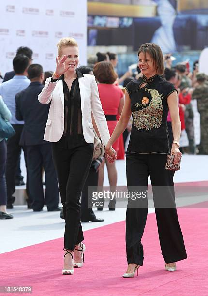 Actress Nicole Kidman and Antonia Kidman attend a launching ceremony for the Qingdao Oriental Movie Metropolis on September 22 2013 in Qingdao China
