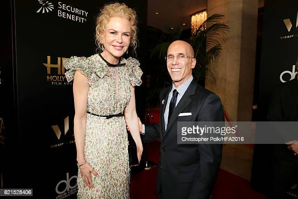 Actress Nicole Kidman and CEO DreamWorks Animation Jeffrey Katzenberg attend the 20th Annual Hollywood Film Awards at The Beverly Hilton Hotel on...