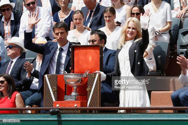 Actress Nicole Kidman and Co-chairman of the Organizing committee of the Olympic Games of Paris 2024 and Canoe Olympic champion Tony Estanguet...