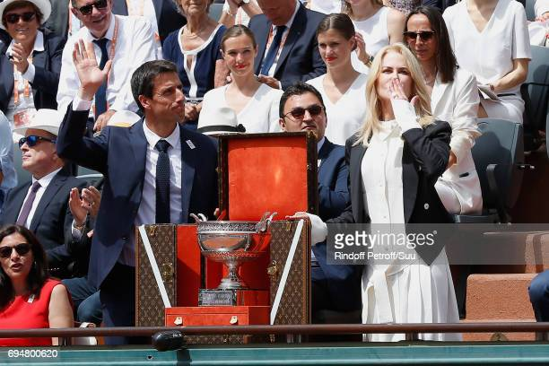 Actress Nicole Kidman and Cochairman of the Organizing committee of the Olympic Games of Paris 2024 and Canoe Olympic champion Tony Estanguet present...