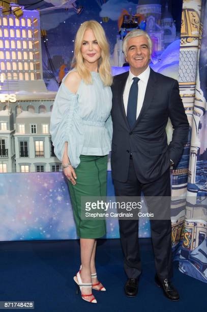 Actress Nicole Kidman and Deputy Chief Executive Officer of LVMH Antonio Belloni attend the Printemps Christmas Decorations Inauguration at Le...