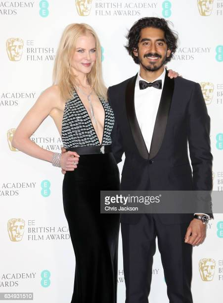 Actress Nicole Kidman and Dev Patel pose in the winners room during the 70th EE British Academy Film Awards at Royal Albert Hall on February 12 2017...