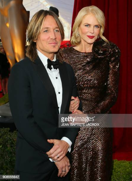 Actress Nicole Kidman and Keith Urban arrive for the 24th Annual Screen Actors Guild Awards at the Shrine Exposition Center on January 21 in Los...