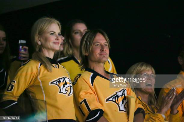 Actress Nicole Kidman and Keith Urban attend the Stanley Cup Finals Game 3 Nashville Predators Vs Pittsburgh Penguins at Bridgestone Arena on June 3...