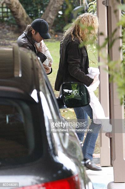 Actress Nicole Kidman and Keith Urban visit the Greenwich home of Antonia Kidman with their newborn child Sunday Rose on August 8 2008 in Greenwich...
