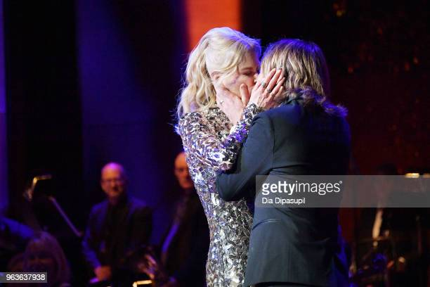 Actress Nicole Kidman and musical artist Keith Urban embrace onstage during Lincoln Center's American Songbook Gala at Alice Tully Hall on May 29...