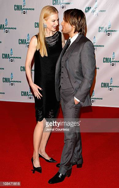 Actress Nicole Kidman and musician Keith Urban attend the 42nd Annual CMA Awards at the Sommet Center on November 12 2008 in Nashville Tennessee