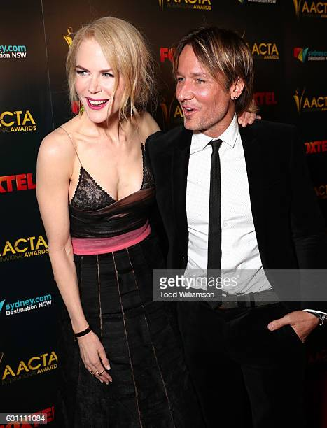 Actress Nicole Kidman and musician Keith Urban attend The 6th AACTA International Awards on January 6 2017 in Los Angeles California