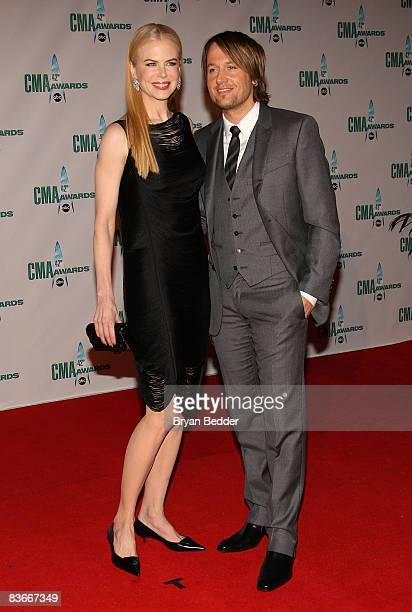 Actress Nicole Kidman and musician Keith Urban attends the 42nd Annual CMA Awards at the Sommet Center on November 12 2008 in Nashville Tennessee