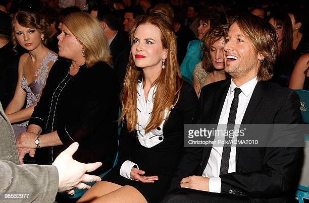 Actress Nicole Kidman and musician Keith Urban pose from the audience at the 45th Annual Academy of Country Music Awards at the MGM Grand Garden...