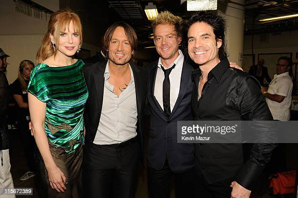 Actress Nicole Kidman and musicians Keith Urban Scott Underwood and Patrick Monahan attend the 2011 CMT Music Awards at the Bridgestone Arena on June...