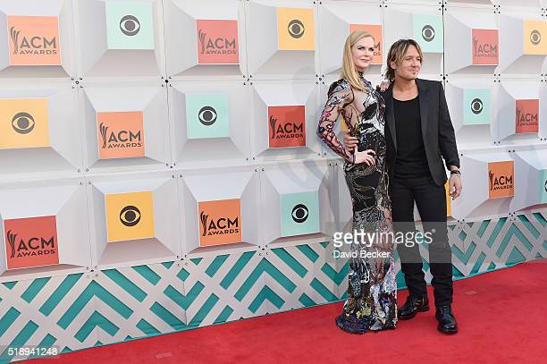 Actress Nicole Kidman and recording artist Keith Urban attend the 51st Academy of Country Music Awards at MGM Grand Garden Arena on April 3 2016 in...