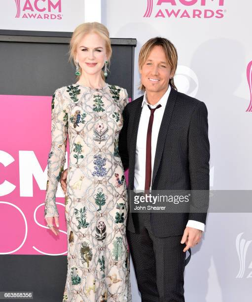 Actress Nicole Kidman and recording Keith Urban attend the 52nd Academy Of Country Music Awards at Toshiba Plaza on April 2 2017 in Las Vegas Nevada