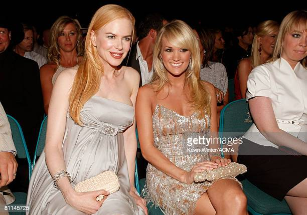 ACCESS*** Actress Nicole Kidman and Singer Carrie Underwood during the 43rd annual Academy Of Country Music Awards held at the MGM Grand Garden Arena...