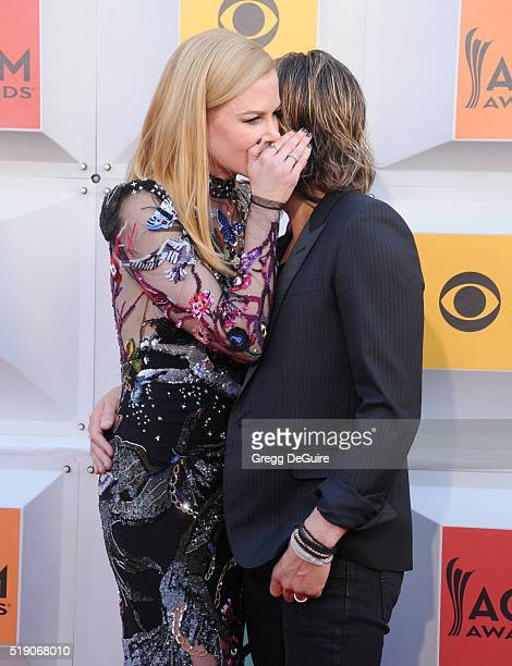 Actress Nicole Kidman and singer Keith Urban arrive at the 51st Academy Of Country Music Awards at MGM Grand Garden Arena on April 3 2016 in Las...