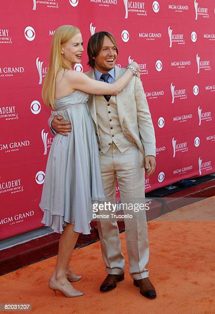 Actress Nicole Kidman and singer Keith Urban attend the 43rd Academy of Country Music Awards at The MGM Grand Garden Arena on May 18 2008 in Las...