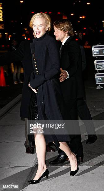 Actress Nicole Kidman and singer Keith Urban visit Late Show with David Letterman at the Ed Sullivan Theater on November 24 2008 in New York City
