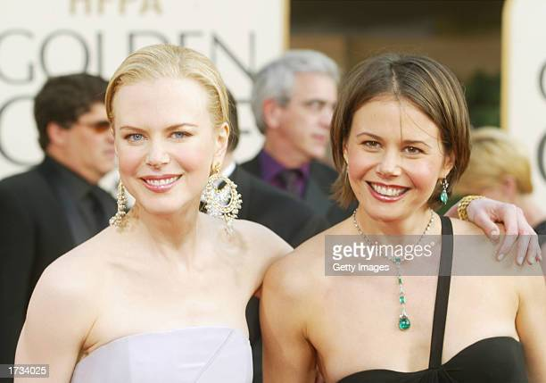 Actress Nicole Kidman and sister Antonia attend the 60th Annual Golden Globe Awards at the Beverly Hilton Hotel on January 19 2003 in Beverly Hills...