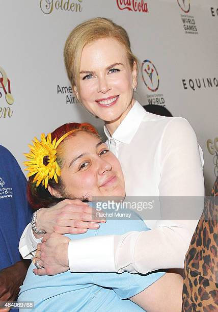 Actress Nicole Kidman and Special Olympics World Games Global Messenger Ariel Lopez attend CW3PR presents Gold Meets Golden at Equinox Sports Club on...