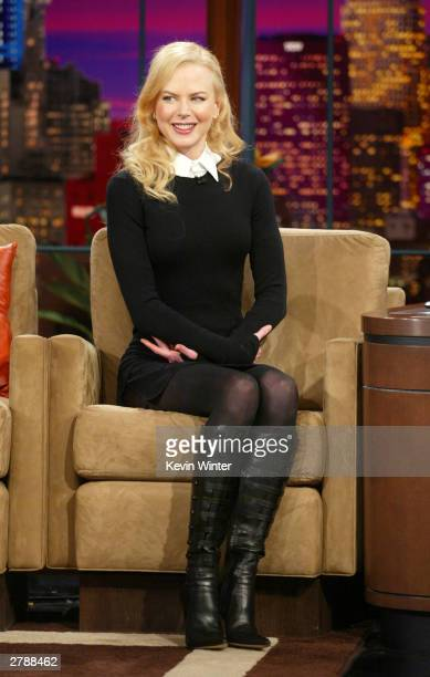 Actress Nicole Kidman appears on The Tonight Show with Jay Leno at the NBC Studios on December 5 2003 in Burbank California